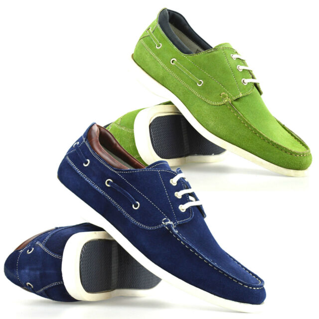 Mens Casual Leather Suede Boat Deck Mocassin Lace Up Loafers Driving Shoes Size