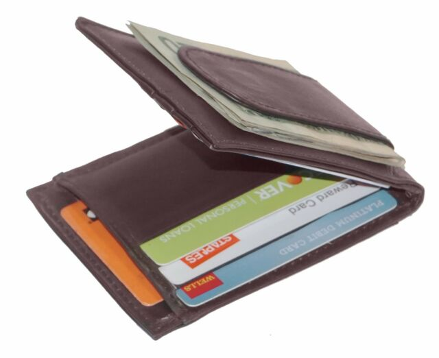 leather slim bifold card holder front pocket money clip mens wallet brown - Bifold Card Holder