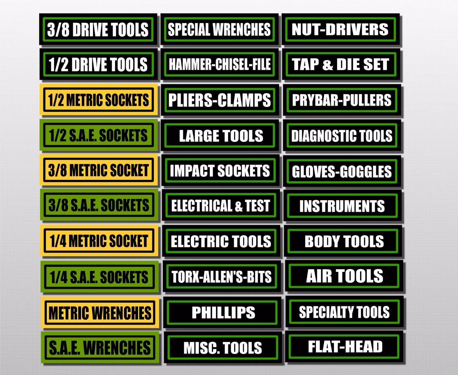 Tool Box Text Tiles Magnetic Labels Set of 33 LOT OF 5 PACKS USA Machine Auto