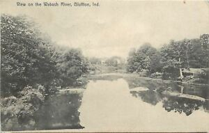 Bluffton-Indiana-Wabash-River-Sand-Bars-House-on-Hill-1907-Rotograph-Postcard