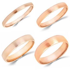 10K-Rose-Gold-2mm-3mm-4mm-5mm-Brush-Comfort-Finish-Fit-Wedding-Band-Ring