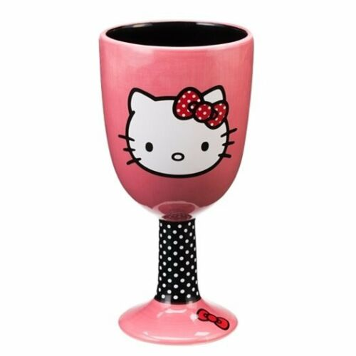 NEW UNUSED Hello Kitty Face Art Image Two-Sided Ceramic Goblet