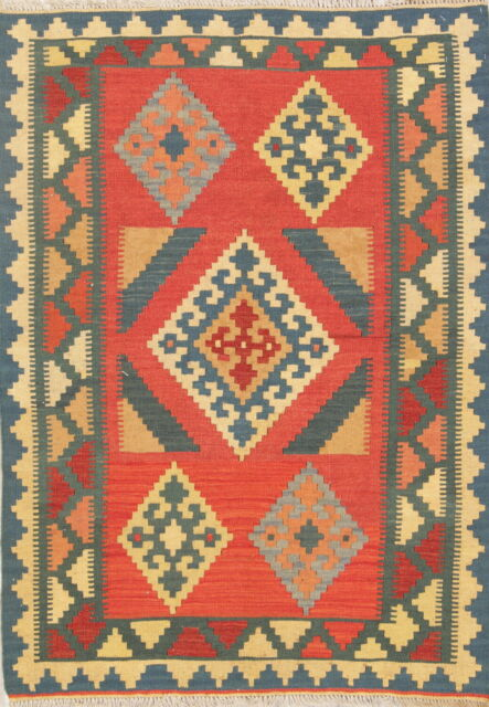 Hand Woven Wool Kilim Rust Geometric Oriental Area Rug 3 X 5 For Sale Online Ebay