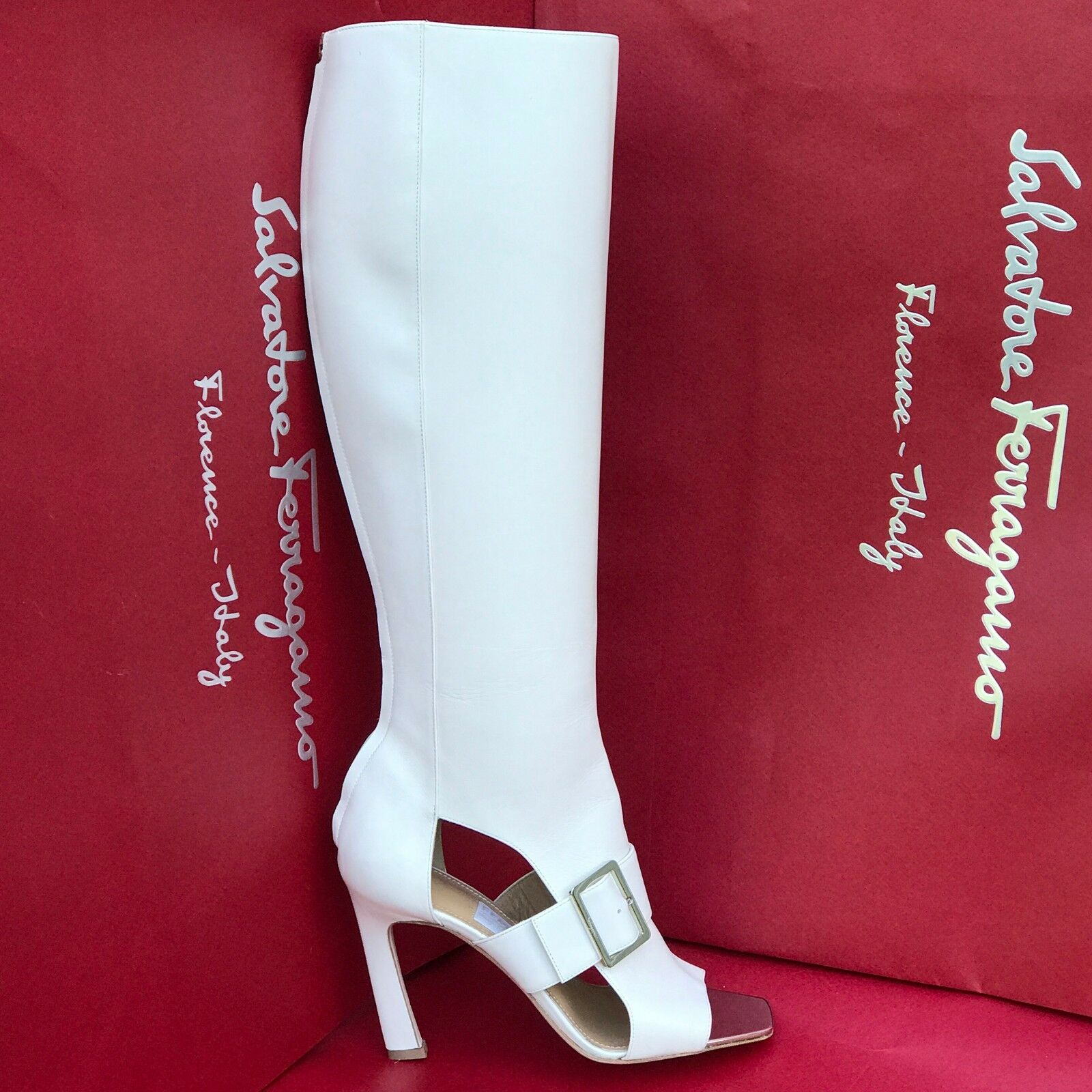 Ferragamo Women's Knee High PEGASUS 7 37.5 White Leather Boots Nude Wedding Club