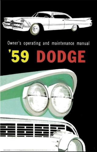 1959 Dodge Owners Manual User Guide Reference Operator Book Fuses Fluids OEM