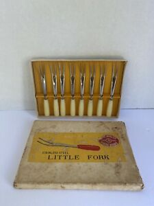 Vintage-Stainless-Steel-Cocktail-Appetizer-Little-Forks-set-of-8-Made-in-Japan