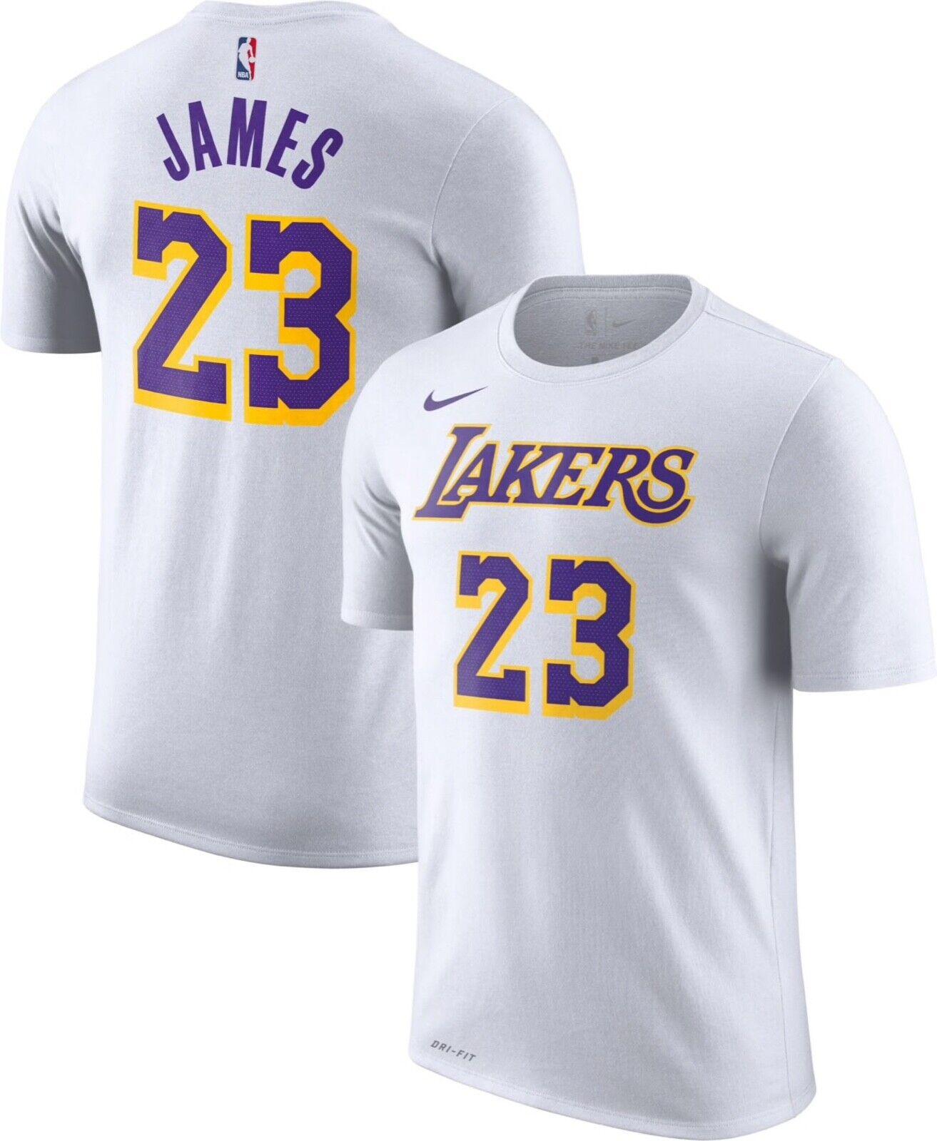 best service 3409d 7d4f2 Nike Lebron James Los Angeles Jersey White Purple Gold T-Shirt Men's Size  S-3XL