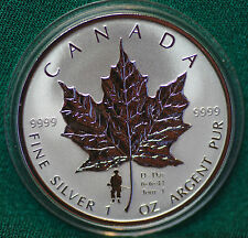 2004 CANADA D-day Commemorative Silver Maple Leaf Reverse proof 1 oz - coin only