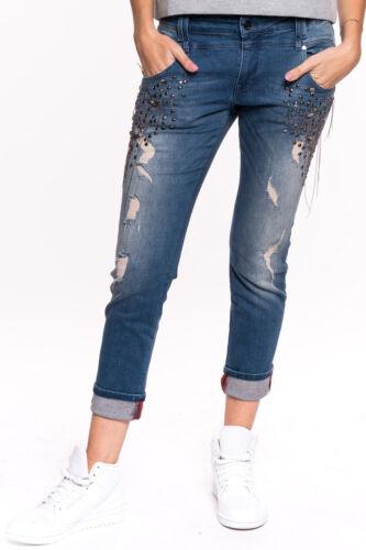 Electra Jeans Damen Hose blau Designer Used Look Destroyed Löcher Risse GAUDI