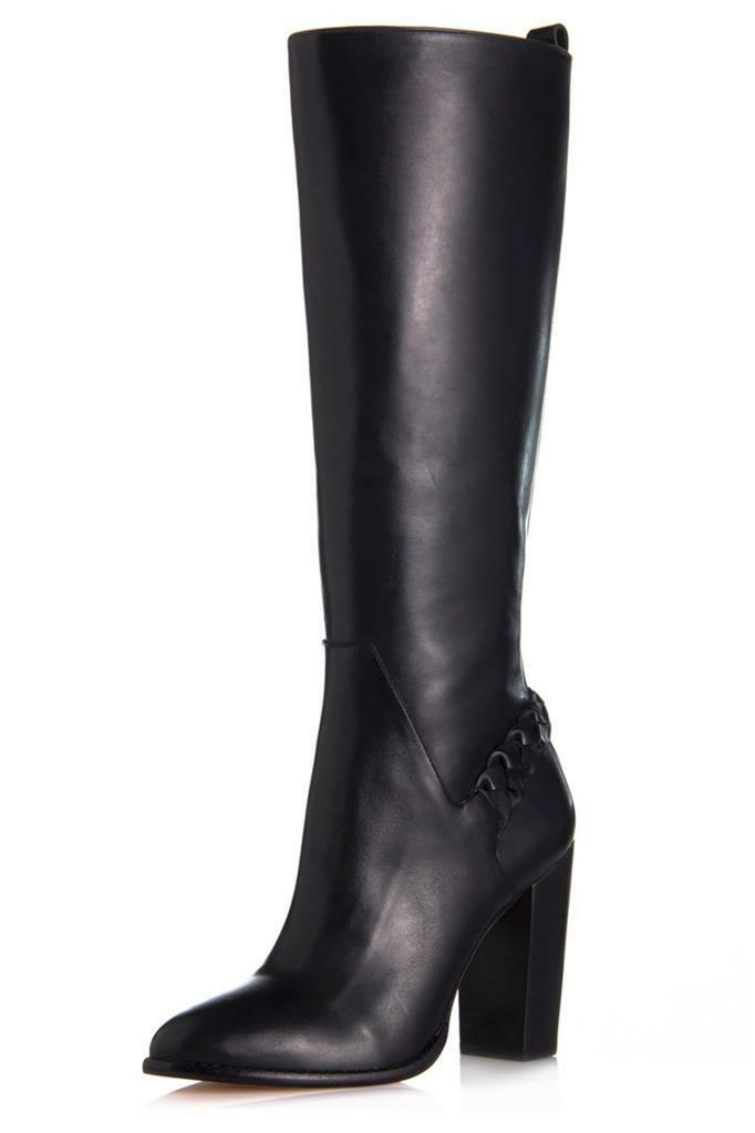 Elizabeth and James Sonny Boot Black Leather zipper elastic calf Braided Tall