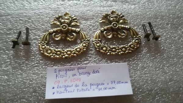 2 Anciennes Poignées De Tiroir De Commode Meuble En Bronze Doré (09.p.2019)