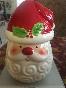 New Meritage Santa Face Head Red Christmas Cookie Jar Canister W