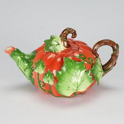 Vintage Fitz floyd Maryland style Pumpkin Teapot Porcelain artistic collectible