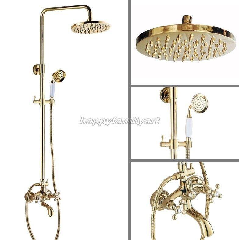 LUSSO oro Lucido Ottone Bagno pioggia rubinetto doccia Set vasca Miscelatore rubinetto ygf452