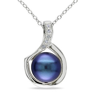 Sterling Silver Black Freshwater Pearl and Diamond Pendant Necklace 9-10 mm
