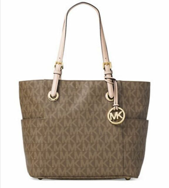 NWT MICHAEL KORS Jet Set East West EW Signature Logo Tote Mocha Light Brown Gold