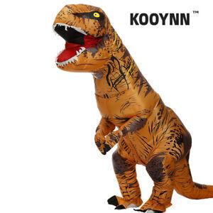 Inflatable T-Rex Dinosaur Costume Adult Fancy Dress Blow Up Suit-Brown