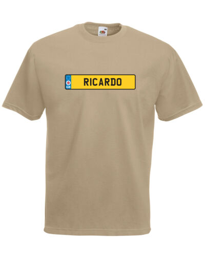 /'Ricardo/' Number Plate Car Graphic Design Quality t-shirt tee mens unisex