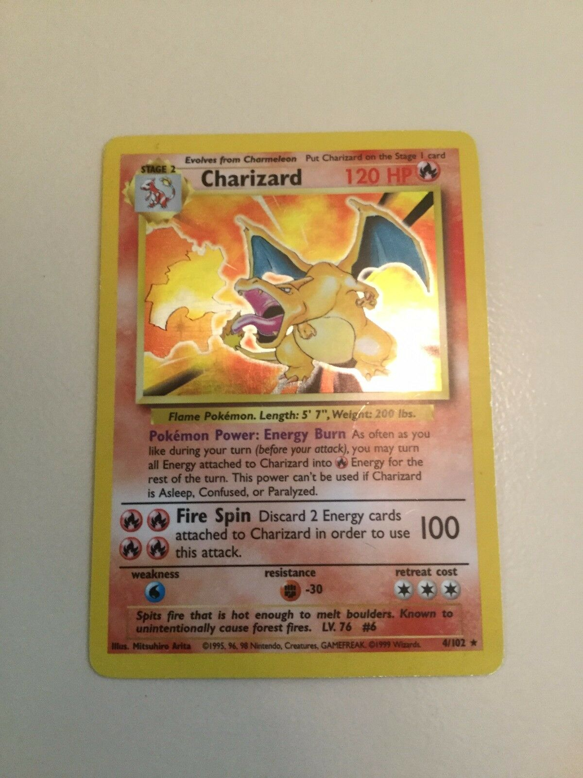 4 102 Charizard holo base set rare good cond. Pokemon card