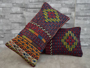 Image Is Loading A Pair 13x24 Inch Antique Kilim Rug Cushion