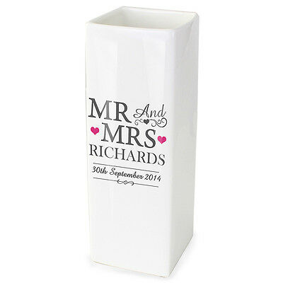 PERSONALISED VASE for Bride and Groom Mr & Mrs Wedding New Home Gift Anniversary