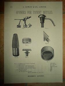 Vintage Corkscrew Images Copy Print L Lumley /& Co Minories London #610