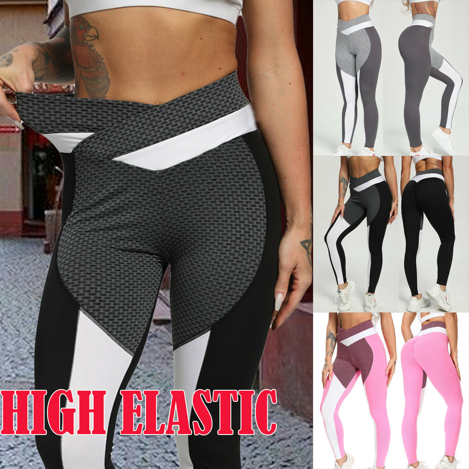 Tik Tok Women Anti Cellulite Compression Push Up Yoga Pants Fitness Leggings XL