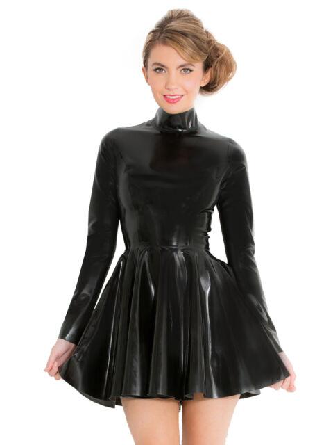 4286ec04fc Honour Women s Skater Mini Dress in Black Rubber Latex with High Neck