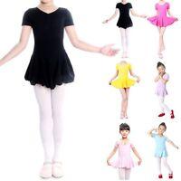Vogue New Kid Girls Short Sleeve Leotard Gymnastics Ballet Dance Dress Dancewear