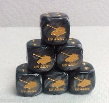 DICE - *6* 16mm CHX LUSTROUS BLACK w/GOLD U.S. ARMY TANK AS #1 & PIPS! SALE!!