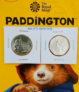 2019-Pair-of-Paddington-Bear-Coins-50p-UNC-At-Tower-of-London-st-Pauls-Cathedral