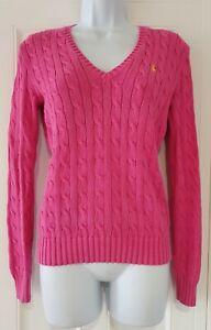 Womens-Ralph-Lauren-Sport-Pink-Cable-Knit-V-Neck-Long-Sleeve-Jumper-Small-P