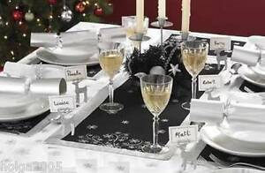 2-x-Black-Silver-Snowflake-Table-Runner-Tableware-Decoration-NEW-Xmas