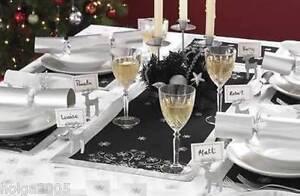2-x-Black-amp-Silver-Snowflake-Table-Runner-Tableware-Decoration-NEW-Xmas