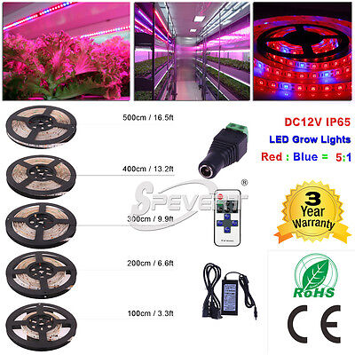 1-5M 5050 LED Plant Grow Light Strip Red Blue 5:1 Greenhouse Garden Hydroponic