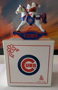 Chicago Cubs 2007 Christmas Hobby Horse With Santa Claus Christmas Ornament