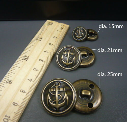 Anchor sailor Military Shield Shank Brass Metal Buttons 2 Colour 3 size option