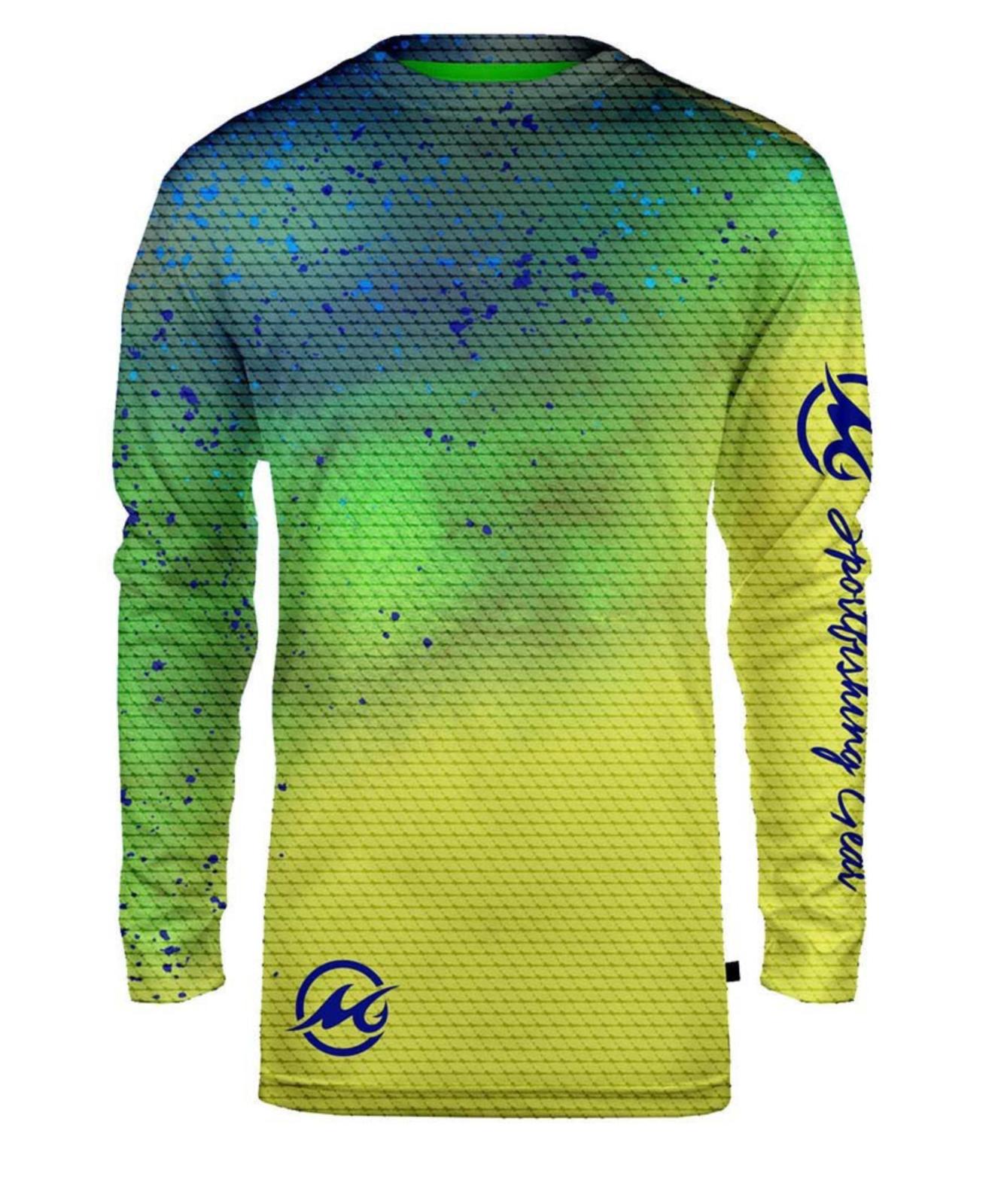 Mojo Sportswear Finny Long Sleeve Sublimated Fishing Boat T-shirt.XS-4XL.Dolphin