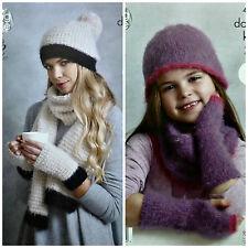 Girls Ladies KNITTING PATTERN Easy Knit Hat Scarf Cowl Fingerless Mitts DK 4592