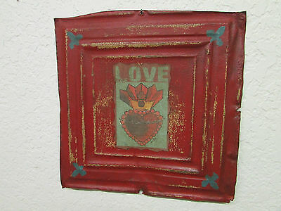 Antique Ceiling Tin Wall Art #3- Sacred Heart-12x12 in-Primitive-Vintage-Love