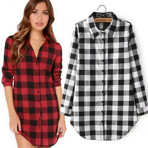 e8b8c5e9 Women Long Sleeve Plaid Check Oversized Tops T-shirt Blouse Shirt ...