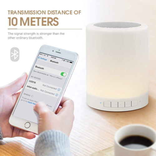 Bluetooth Speaker Night Light Dimmable Table Lamp Smart Touch Control LED Color