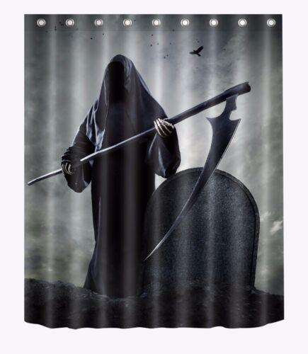 72x72/'/' Reaper Death Bathroom Fabric Waterproof Shower Curtain 12 Hooks Bath Mat