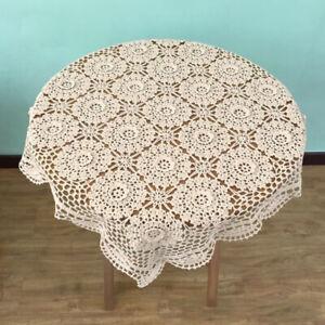 Vintage-Hand-Crochet-Cotton-Lace-Doily-Square-Table-Cloth-Cover-Mats-Flower-23-034