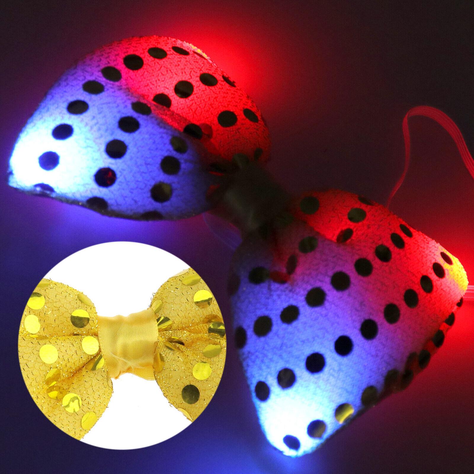 1er Bogen Fliege Pailletten LED blinkend Party Tie Weihnachten Deko Gelb