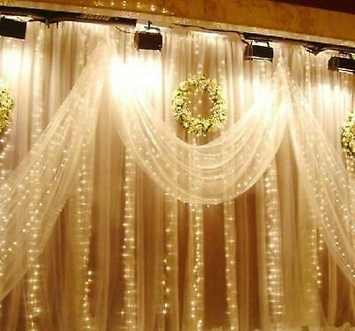 Romantic 1mx2m Warm white 104 LED Christmas Tree Party Door Decor Light Curtain