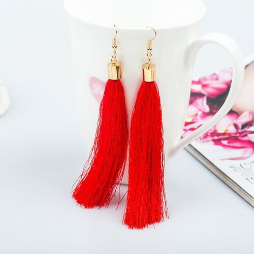 Boho Dangle Tassle Fringe Hook Drop 8 Colours Long Fashion Tassel Earrings