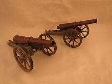 2 Marklin field cannon, brown spring loaded Tin barrel & carriage, Cast wheels