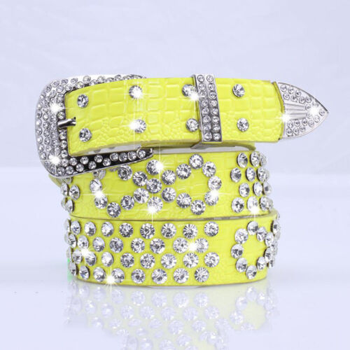 Women Rhinestone Belt Bling Crystal Western Cowgirl Studded Waistband 13 Colors