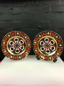 2-x-Royal-Crown-Derby-Old-Imari-1128-Solid-Gold-Band-Dinner-Plates-10-5-034-2004